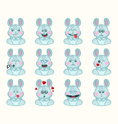Set cute bunny with different emotions vector