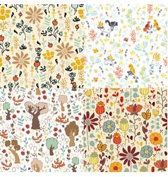 set flower patterns vector image