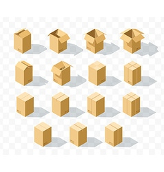 Set of 15 realistic isometric cardboard boxes with vector image