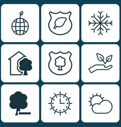 Set of 9 eco icons includes timber clear climate vector