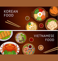set of horizontal web banners vietnamese korean vector image