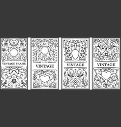 set vintage frames design elements for poster vector image