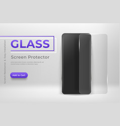 Smartphone mockup with glass screen protector 3d vector