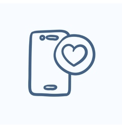 Smartphone with heart sign sketch icon vector image