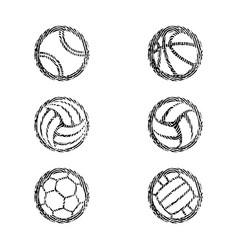 sport balls solid fingerprints set vector image