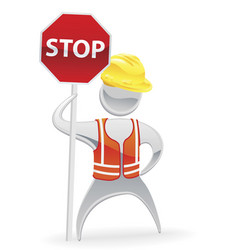 Stop sign metallic man concept vector