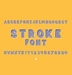 stroke font alphabet vector image