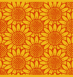 sunflower pattern seamless vector image