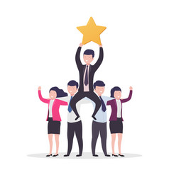 Teamwork success business people businessman with vector