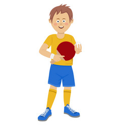 teenager boy with table tennis racket and ball vector image