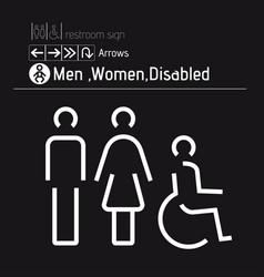 Toilet restroom men women disabled handicap vector