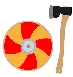 Viking shield and axe vector image