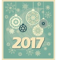 vintage new year card 2017 vector image