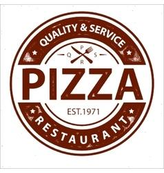 Vintage pizza logo stamp vector