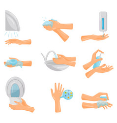 Washing hands step by step set hygiene vector