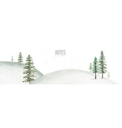 Winter and christmas watercolor hand-painted card vector