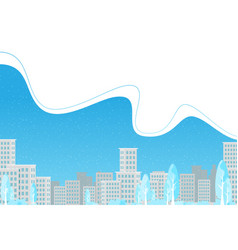 winter city background in flat style vector image
