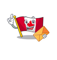 with envelope canadian flag fluttering on mascot vector image