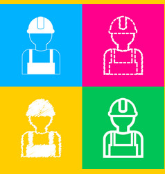 worker sign four styles of icon on four color vector image