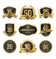 Years anniversary label gold and black vector