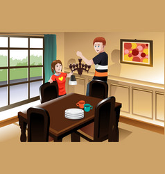 Young couple changing lighting fixture vector