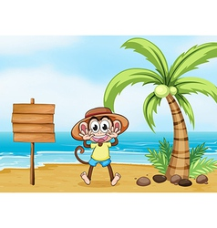 A monkey at the beach and the empty board vector image vector image