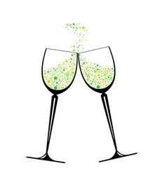 confetti in glasses vector image