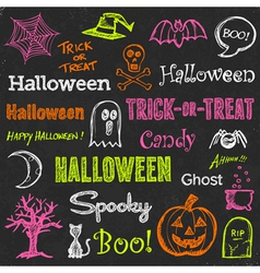 Halloween hand-drawn elements vector image