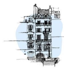 hand drawn paris house townhouse urban sketch vector image