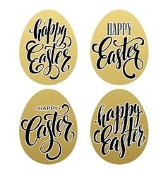 Happy easter Calligraphic lettering egg golden vector image vector image
