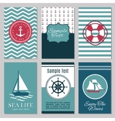 Marine banners or summer nautical invitation cards vector image vector image