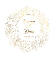 rose floral wreath luxury gold wedding invitation vector image