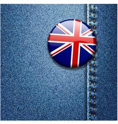 UK Flag On Denim Texture vector image vector image