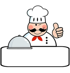 Winked Chef Banner With Platter vector image