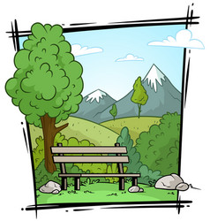 cartoon nature landscape and bench background vector image