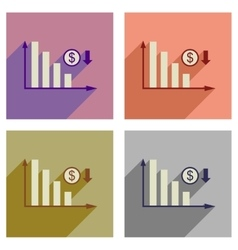 Concept of flat icons with long shadow money graph vector