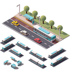 isometric buses set vector image vector image