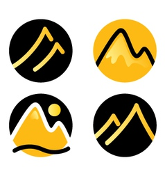 Mountain icons set isolated on white - gold vector image vector image