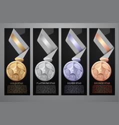 set of black banner gold platinum silver vector image
