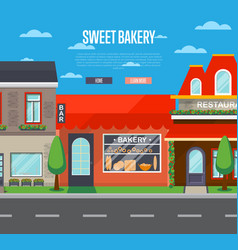 sweet bakery shop banner in flat design vector image vector image