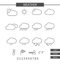 Weather line icons set Monochrome thin line vector image