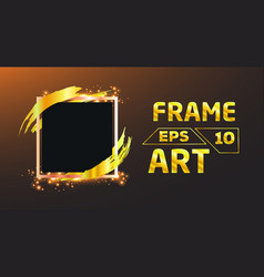 Black with gold brush frame art vector