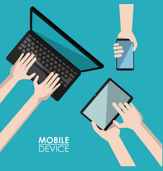 blue background poster mobile device with laptop vector image vector image