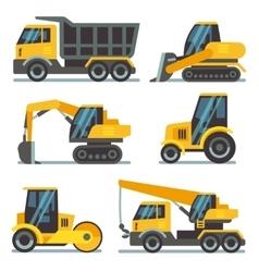 Construction machines heavy equipment vehicles vector image