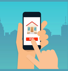 hand holding mobile smart phone with rent vector image
