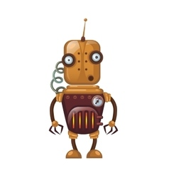 Old childrens toy robot with spring and antenna vector image