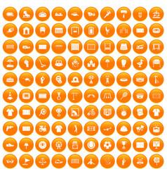 100 playground icons set orange vector