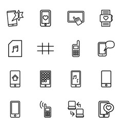 16 smart icons vector image