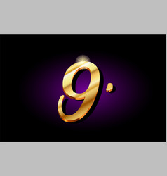 9 nine number numeral digit golden 3d logo icon vector image