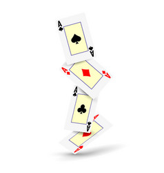 A winning poker hand four aces playing cards vector